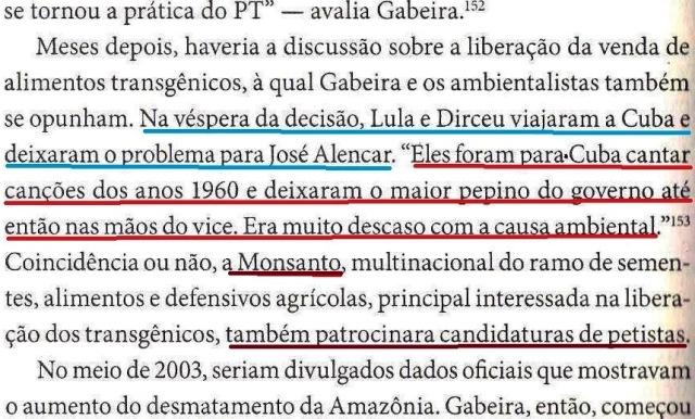 dirceu, a biografia, fl.198, Gabeira conclui, e lula viaja a Cuba com direceu