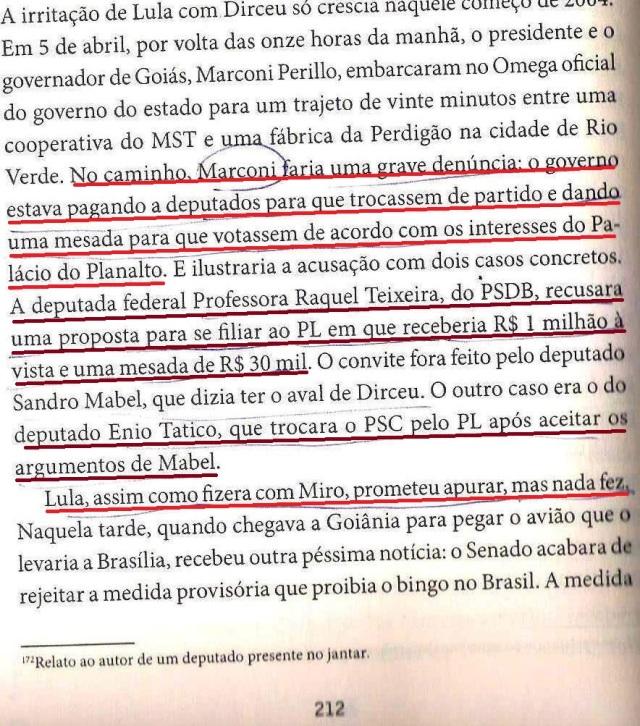 DIRCEU, A BIOGRAFIA, fl. 212, perilo avisa a lula do MENSALÃO