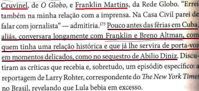 Dirceu, a biografia, Tereza Cruvinel, Franklin martns, fls. 216