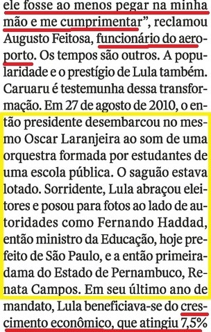 LULA EM CARUAARU, O OCASO 3, crescimento econômico, Veja, 20jul16