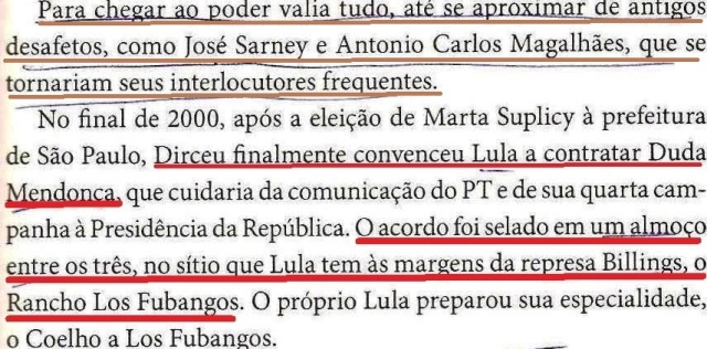 o sítitio de lula, los fubangos, Dirceu, a Biografia, fl. 155